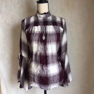 Lane Bryant high neck plaid blouse